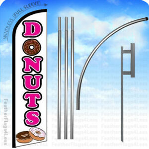 Donuts Windless Swooper Flag Kit 15 Feather Banner Sign Wf