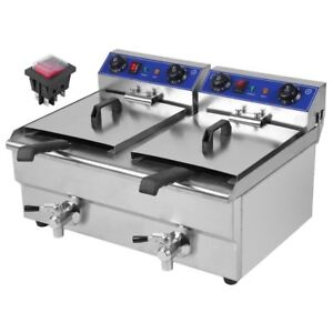 26l 3 3kw Temperature Control Timing Double Container Electric Deep Fryer Sk