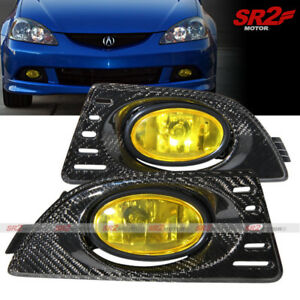 Real Carbon Fiber Cover Yellow Fog Lights Lamps Kit Fits 2005 2006 Acura Rsx Dc5