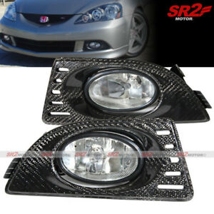 Real Carbon Fiber Cover Clear Fog Lights Lamps Kit Fits 2005 2006 Acura Rsx Dc5