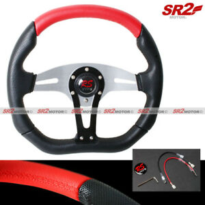 Universal 350mm 2 Tone Red Black Pvc Racing Steering Wheel Horn Button