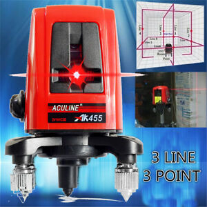 Ak455 5mw 360 Degree Self leveling Cross Laser Level 3 Line 3 Point Horizontal