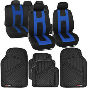 Car Seat Cover Rome Sport Racing Style Black blue Rubber Tough Floor Mat 13 Pc