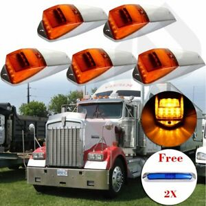 5x Amber 17 Led Cab Roof Top Marker Running Warning Light free 21led Side Marker
