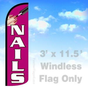 Nails Windless Swooper Flag Feather Banner Sign 3 x11 5 Pq