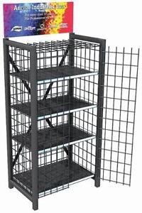 Heavy Duty Retail Metal Display Cage 4 Shelves With Optional Locking Door