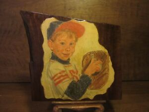 American S Pastime Baseball Antique Walnut Art Wood Wall Hanging Plaque Signed