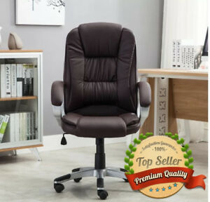 Execution Office Desk Computer Pc Chair Leather Ergonomic Ample Padding Brown
