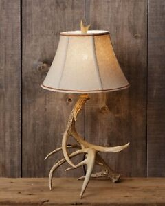 Primitive Rustic Antler Lamp Country Style Decor 28 X 11