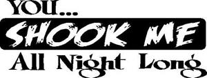 Ac Dc Decal Sticker You Shook Me All Night Long Any Color Vinyl Rock