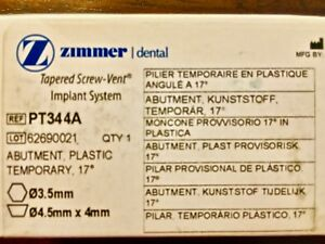 Zimmer dental Abutment Plastic Tapered Implant System 3 5mm 4 5x4 Pt344a