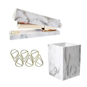 Uniqooo 3 Count Marble Print Gold Finished Stationery Set Desk Stapler Pen Hold