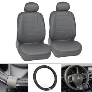 Front Synth Leather Car Seat Covers Steering Wheel Cover Gray Black