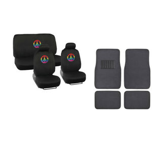 Rainbow Peace Sign Car Seat Covers Charcoal Carpet Floor Mats Embroidered