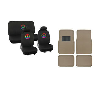 Happy Rainbow Peace Sign Car Seat Covers Comfortable Beige Carpet Floor Mats