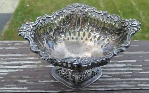 Beautiful Antique Sterling Silver Williams Neale Basket Bowl C Late 1800 S