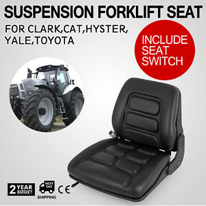 Universal Vinyl Forklift Suspension Seat Fit Clark Hyster Toyota High New Switch