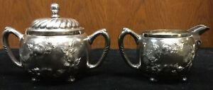 Barbour Silver Co Quadruple Silver Cream And Sugar 1002 Victorian Engraved