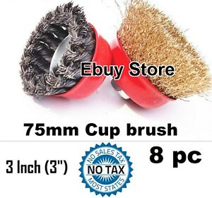 8pc 3 X 5 8 Arbor Fine Crimp Knot Wire Cup Brush Twist Angle Grinders