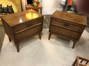 Pair Of Vintage Dixie Walnut 2 Drawer End Tables