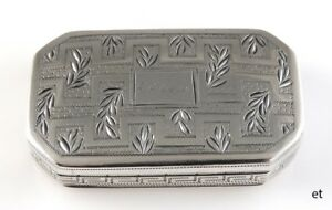 Antique Georgian 1805 English Sterling Silver Snuff Box