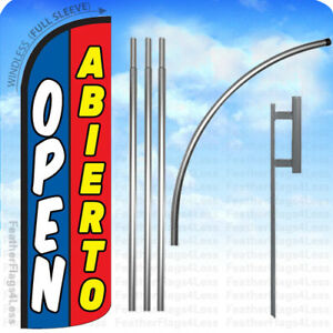 Open Abierto Windless Swooper Flag Kit Feather Banner Sign 15 Bq