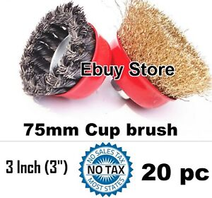 20pc 3 X 5 8 Arbor Fine Crimp Knot Wire Cup Brush Twist Angle Grinders