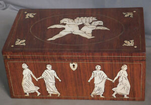 Antique Steer Bone Inlaid Rosewood Period Regency Box Cherubs Classical Figures