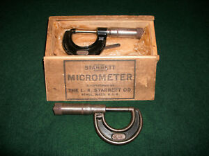 Vintage Starrett No 436 1 Inch Micrometers 2 And One Original Wood Box Usa