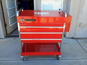 Mac Tools Roll Cart Tool Box Three Drawers With Lid And Rack