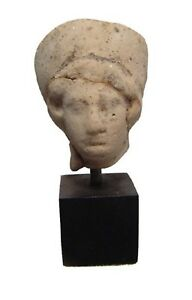 Authenticated Ancient Artifact 300 B C Greek Terracotta Clay Head Of A Woman