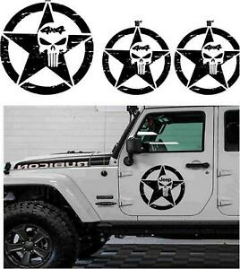 3pcs Star Jeep Wrangler Punisher Hood Vinyl Decal Sticker 4x4 Off Road