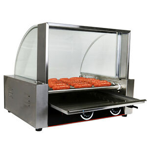 Commercial 24 Hot Dog Hotdog 9 Roller Grill Cooker Machine Stainless W cover