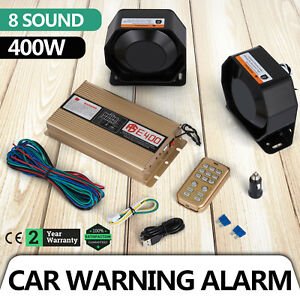 12v 400w 8 Sound Loud Car Warning Alarm Police Fire Siren Pa Mic System Led New