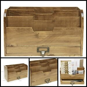 Country Rustic Brown Wood Office Desk File Organizer Mail Sorter Tray Holder New