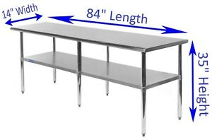 14 X 84 Stainless Steel Kitchen Work Table Commercial Restaurant Food Prep