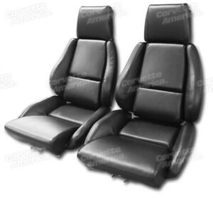 84 88 Corvette C4 Mounted Seat Upholstery Covers Black Vinyl With Foam Set New