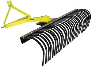 Landscape Rock Rake 3 Point Soil Gravel Lawn Tow Behind Compact Tractor 4ft York