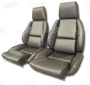 84 87 Corvette C4 Mounted Seat Upholstery Covers Bronze Vinyl With Foam Set New