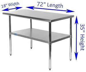 18 X 72 Stainless Steel Kitchen Work Table Commercial Restaurant Food Prep