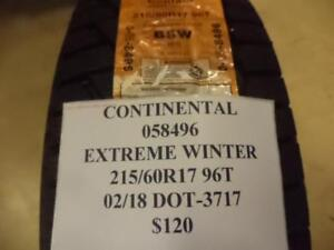 1 New Continental Extreme Winter Tire 215 60 17 96t Q8