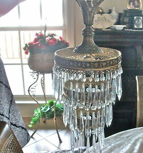 Antique 30 S 40 French Brass Round Style Crystal Chandelier Lamp 23 Lng 2 Tier