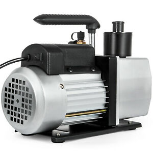 Dual Stage Vacuum Pump 5cfm 1 2hp Rotary Vane Deep Hvac Ac Air Tool Black