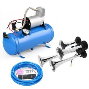 12v 4 Trumpet Train Car Truck Air Horn Compressor 150db hose_tank Gauge Kit Set