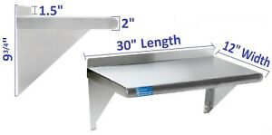 12 X 30 Stainless Steel Wall Mount Shelf Nsf Commercial Restaurant Kitchen