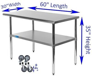 Stainless Steel Work Table W Casters 30 X 60 Food Prep Nsf Utility Bench