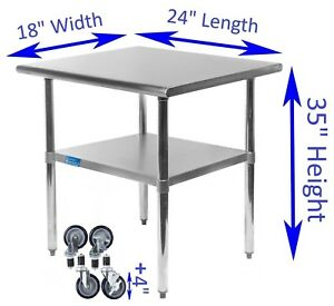 Stainless Steel Work Table W Casters 18 X 24 Food Prep Nsf Utility Bench