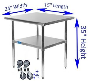 Stainless Steel Work Table W Casters 24 X 15 Food Prep Nsf Utility Bench