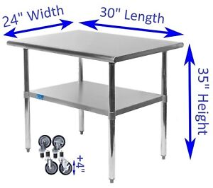 Stainless Steel Work Table W Casters 24 X 30 Food Prep Nsf Utility Table