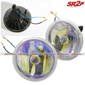 Universal 4 Round Yellow Ion Clear Chrome Bumper Driving Fog Lamp Light Kit